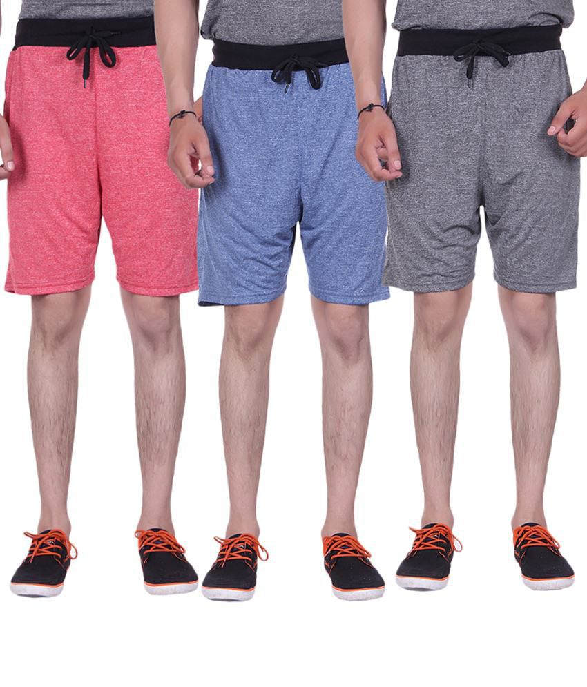 Gag Wear Pack of 3 Red, Blue & Gray Solid Milang Shorts