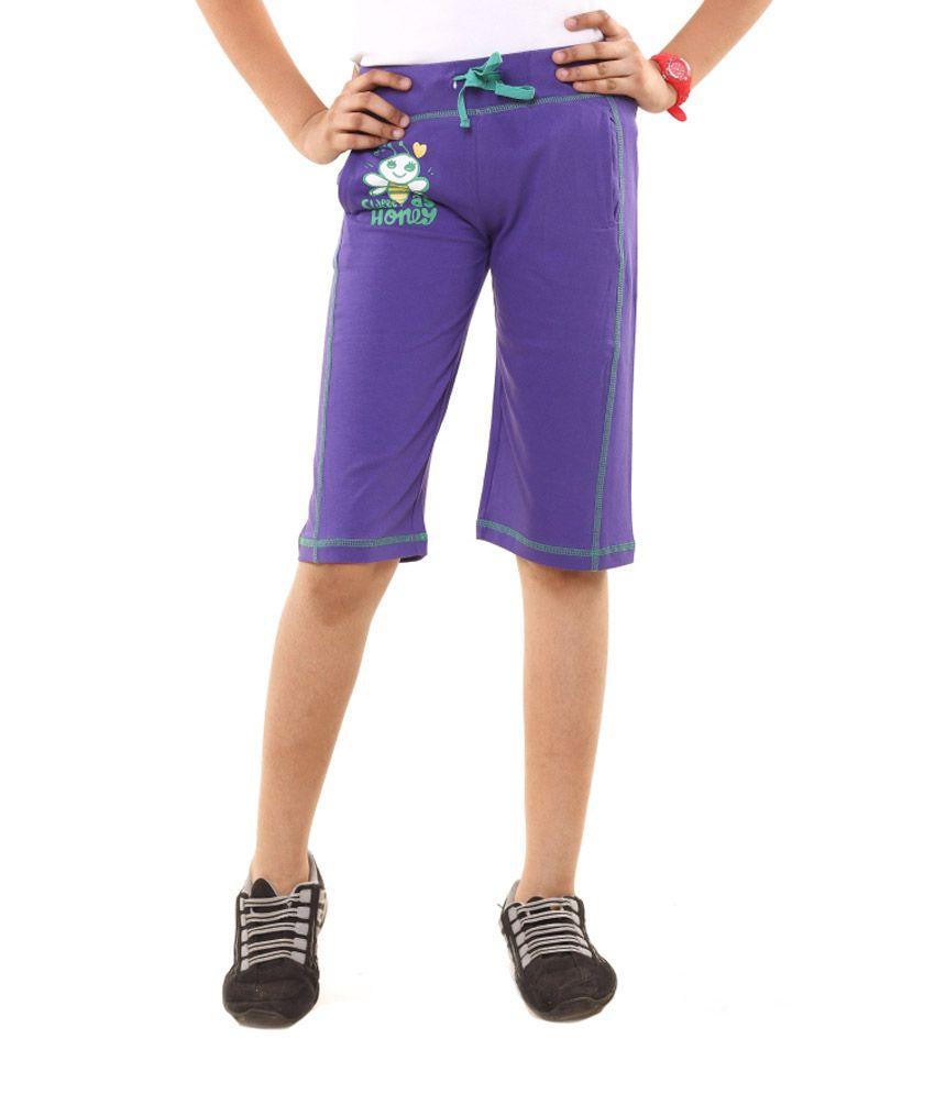 Menthol Purple Cotton Shorts