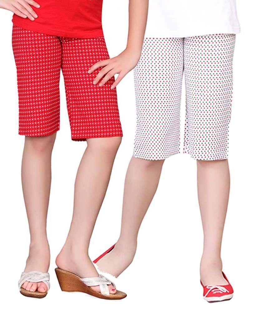 Sinimini Multicolour Capri For Girls Pack Of 2