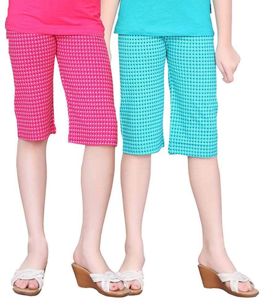 Sinimini Multicolour Capri For Girls Pack Of 2