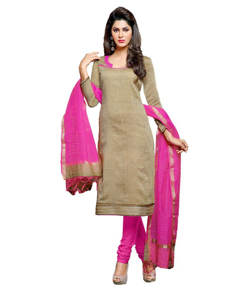 Style Feathers Beige Chanderi Unstitched Dress Material