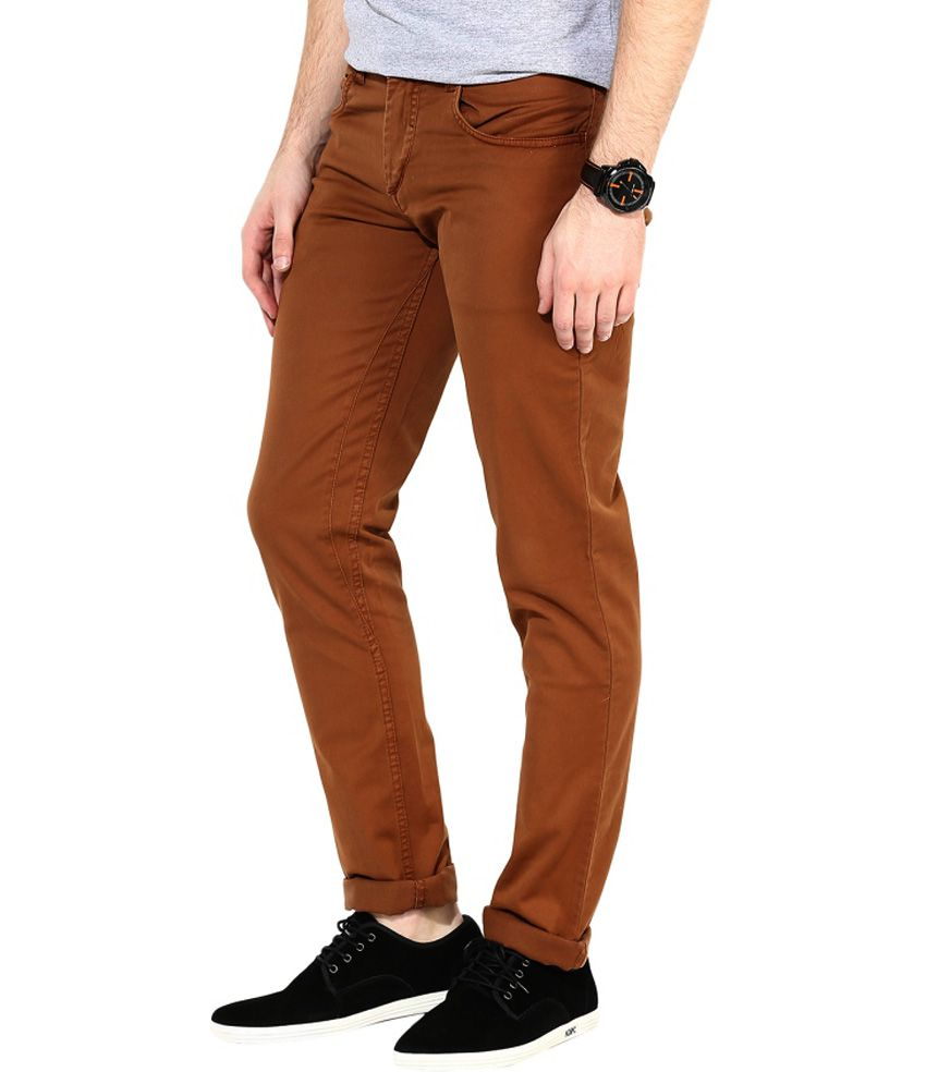 Super-x Brown Slim Fit Jeans
