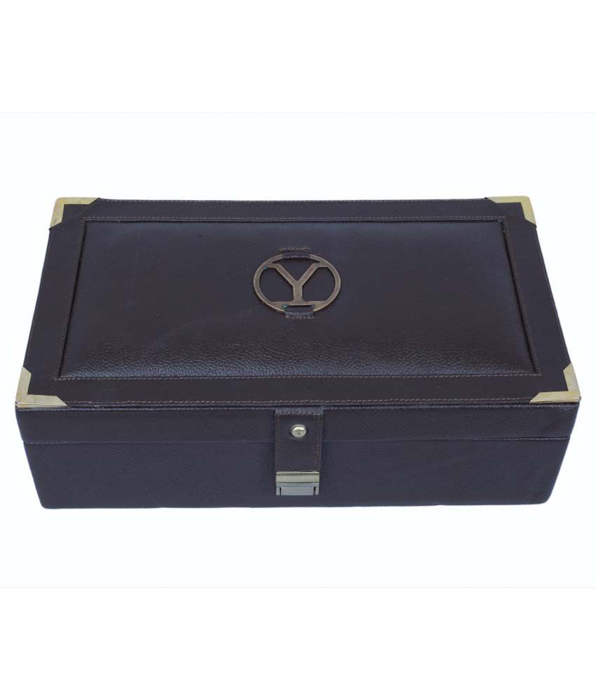 Ystore Genuine Leather Two Layer Bangle Box - Brown