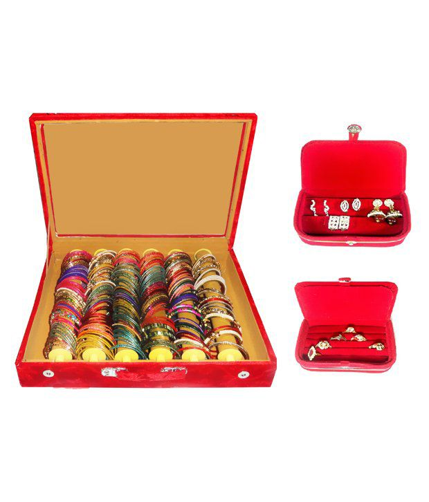 Atorakushon Combo Deal 6 Roll Rod Bangles Box 1 Earring Box Ring 1 Ring Box Jewelry Case