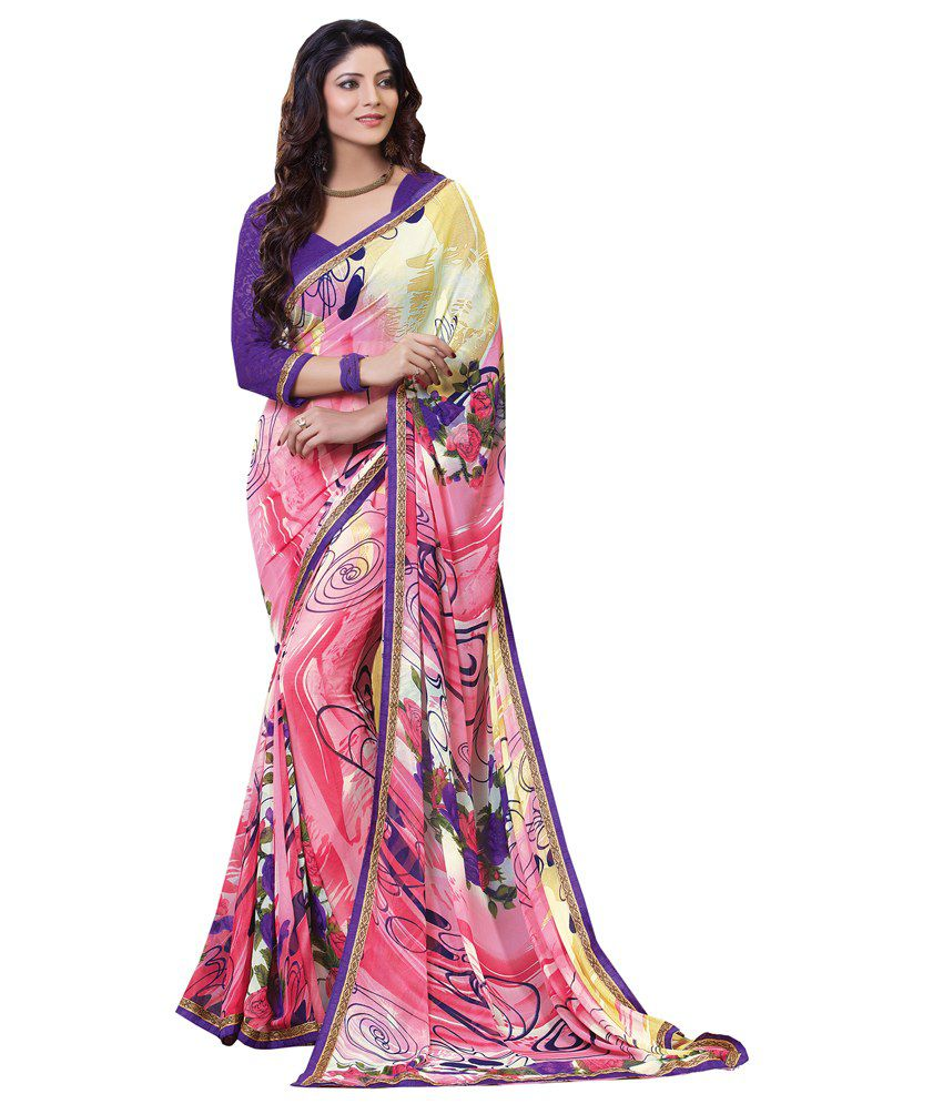 Khushali Pink Faux Georgette Saree