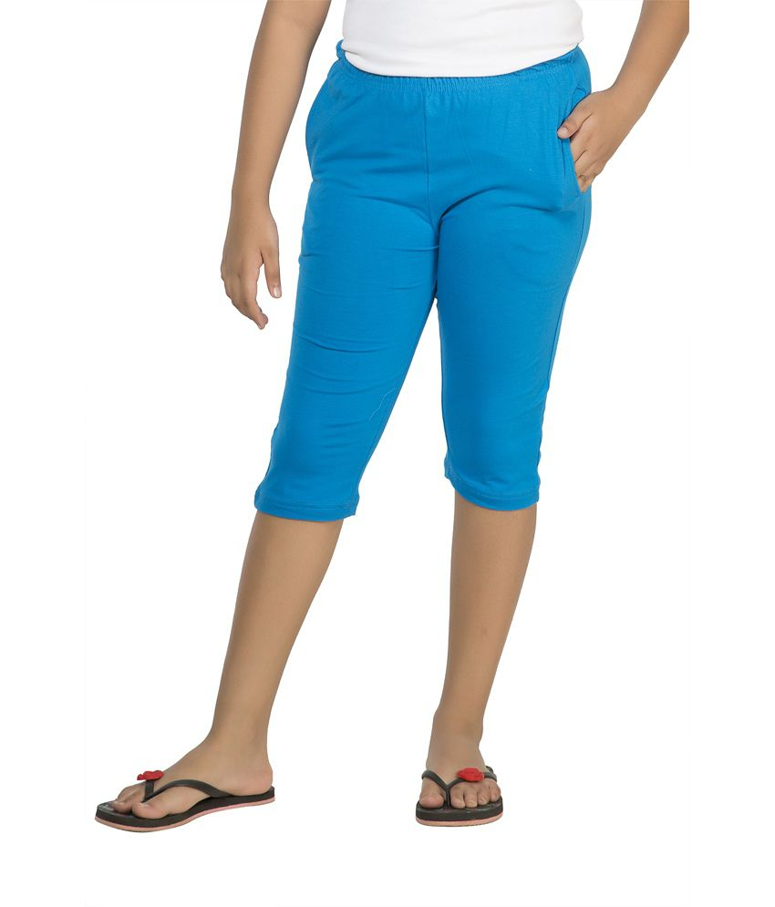 Clifton Blue Cotton Capri