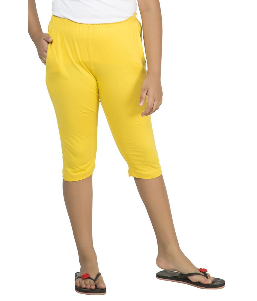 Clifton Yellow Cotton Capri