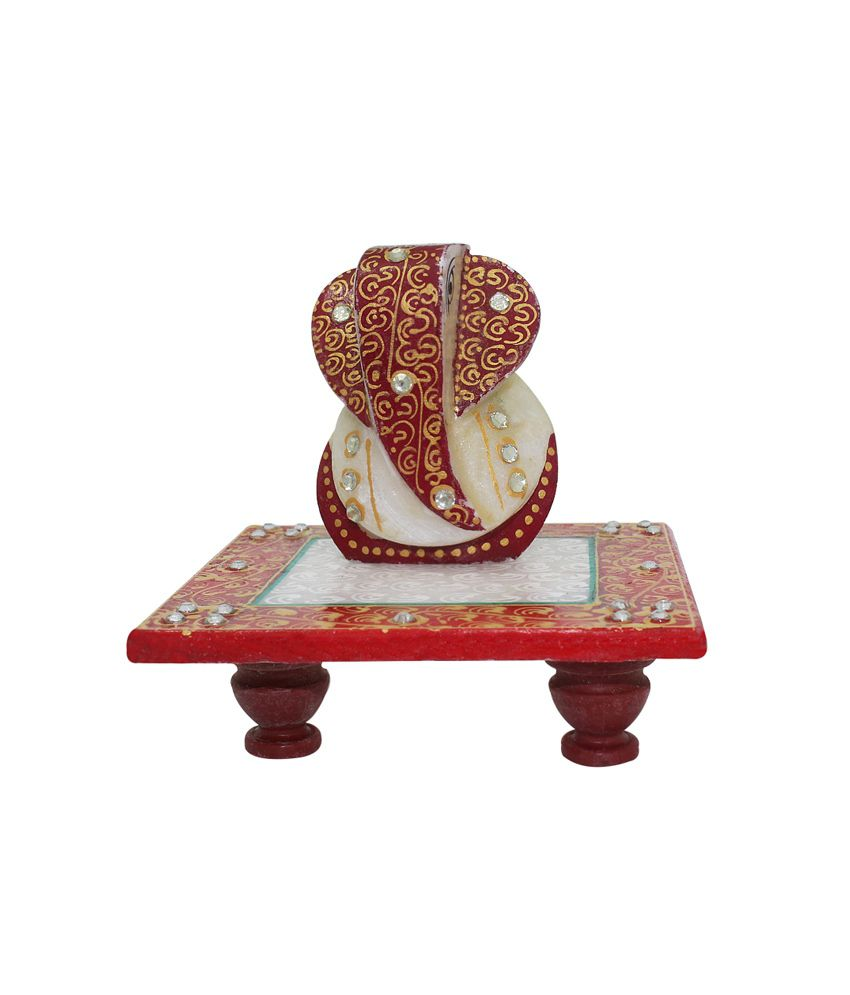 Frabjous Red Marble Lord Ganesha Idol