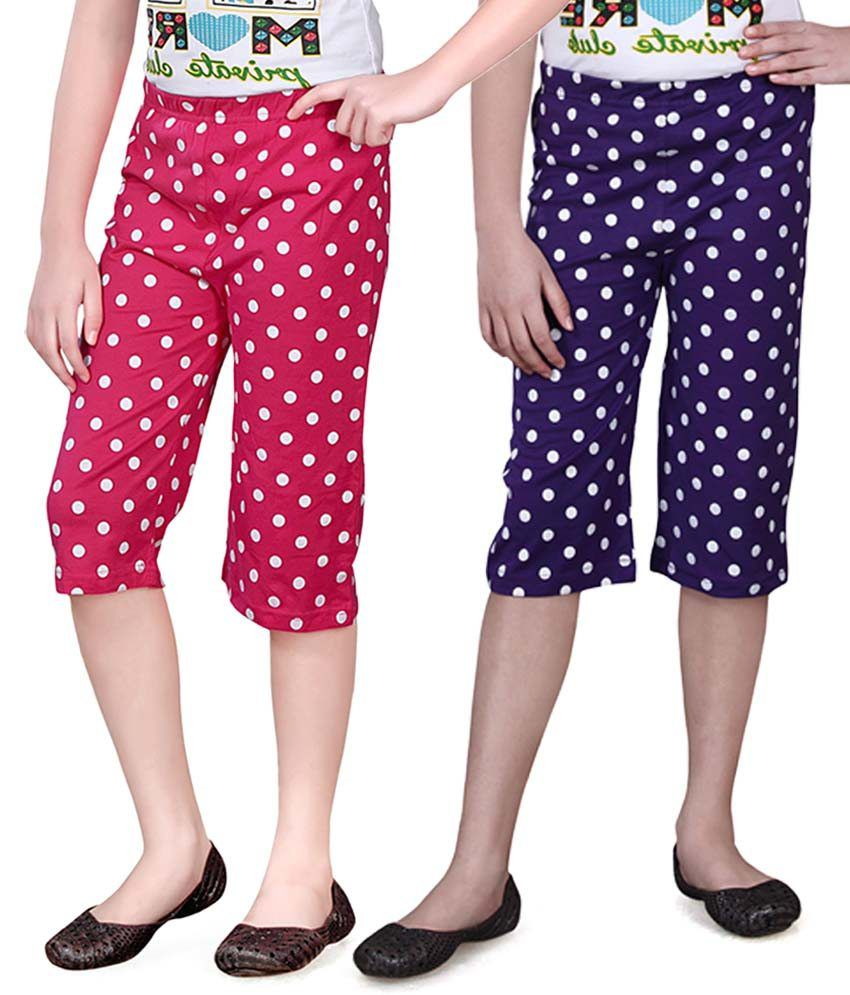 Sinimini Blue And Pink Capris - Pack Of 2
