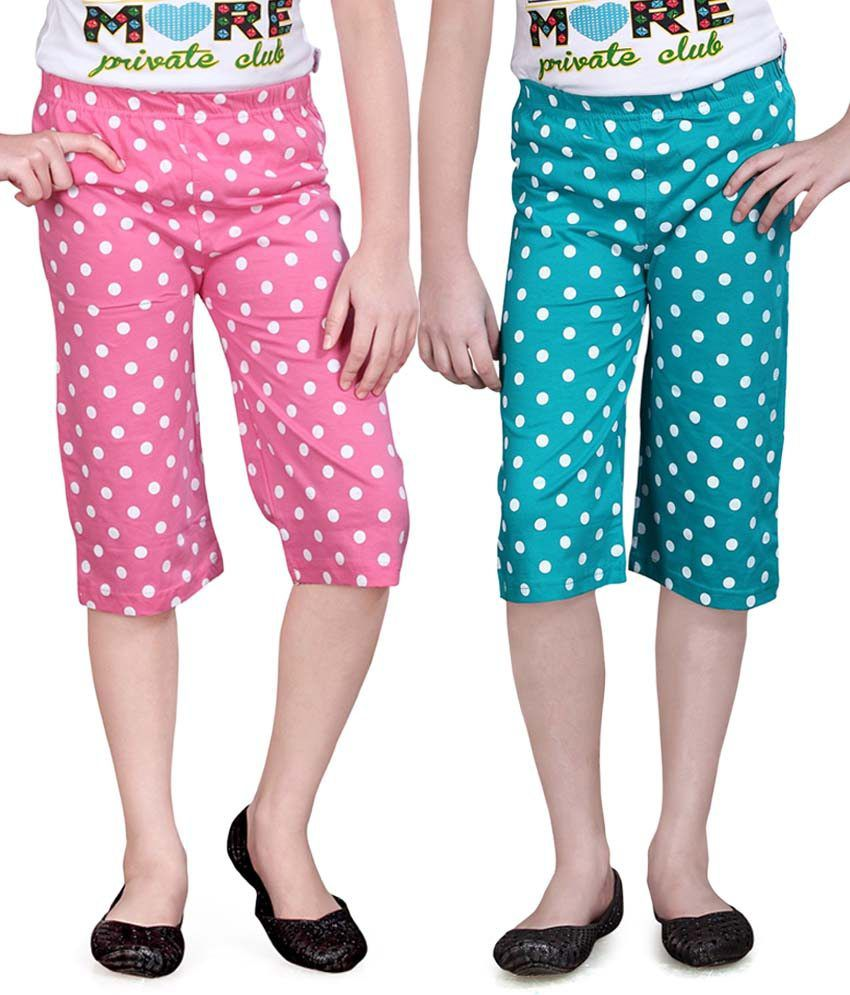 Sinimini Blue And Red Capris - Pack Of 2