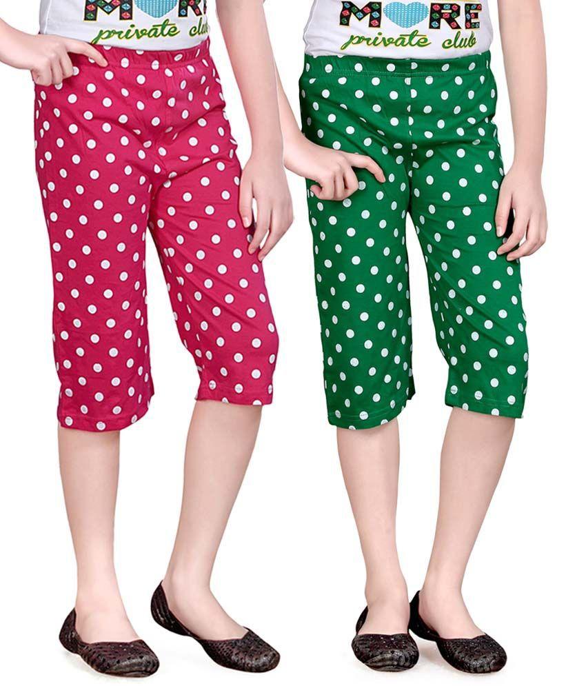 Sinimini Pink And Green Capris - Pack Of 2