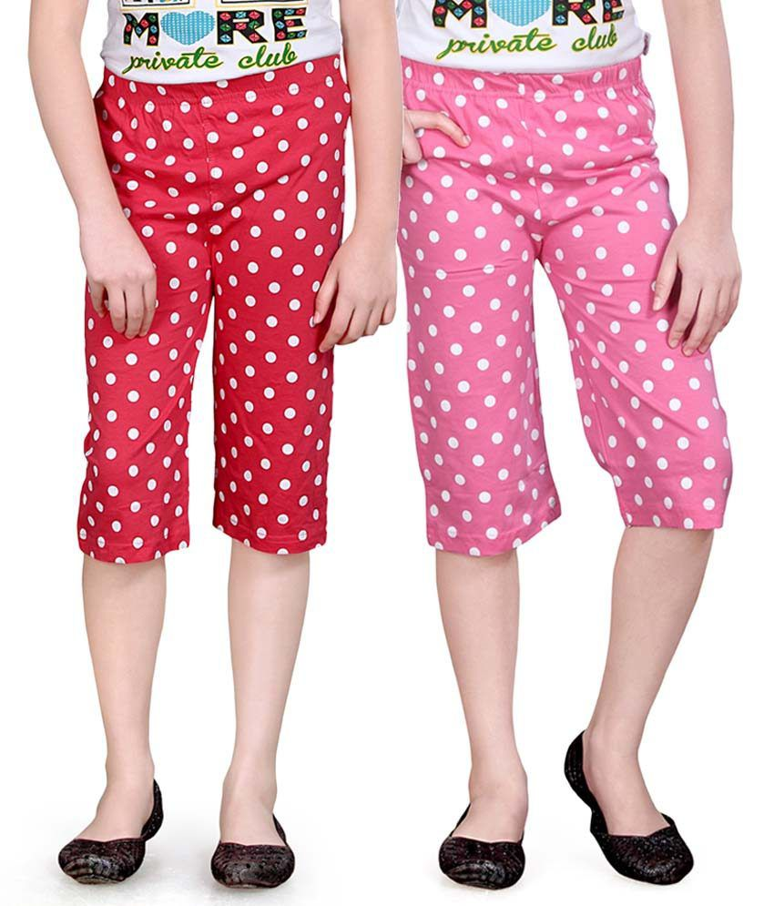 Sinimini Pink And Red Capris - Pack Of 2