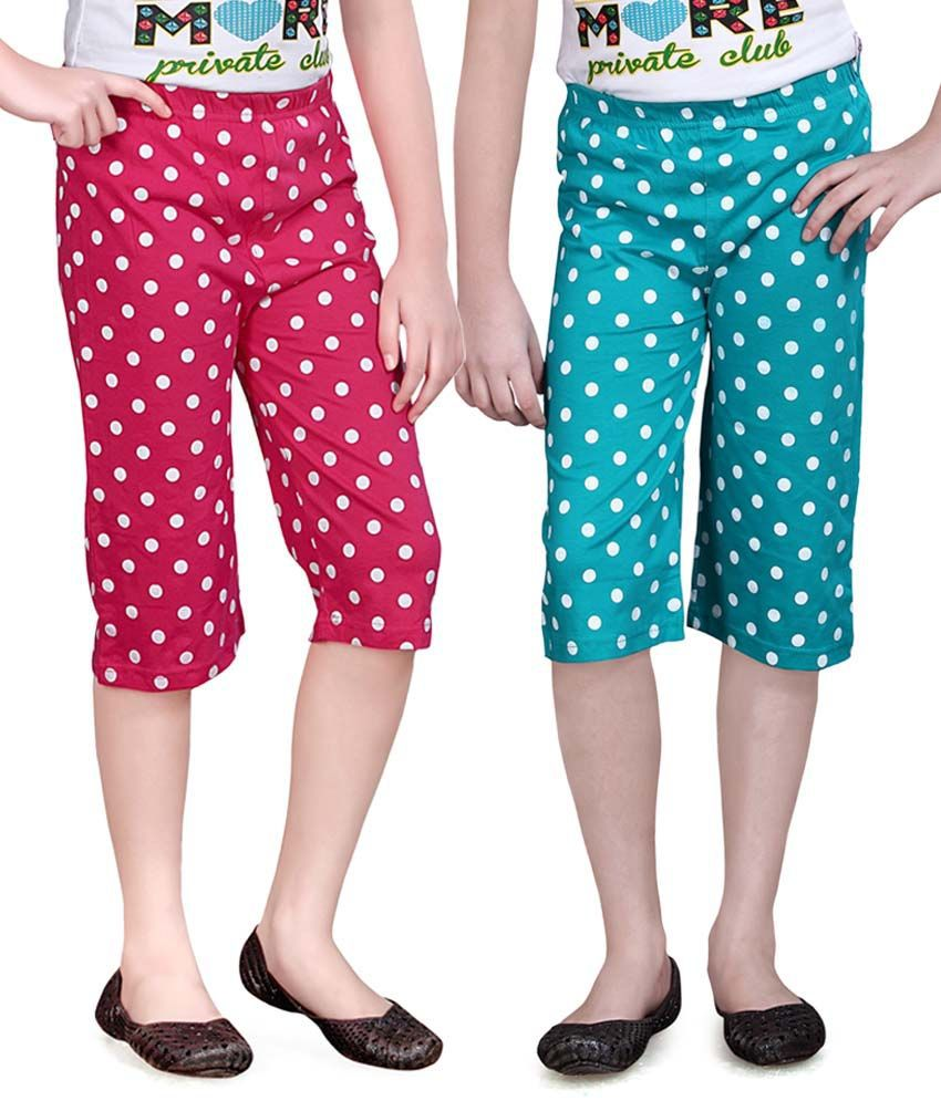 Sinimini Pink And Turquois Capris - Pack Of 2
