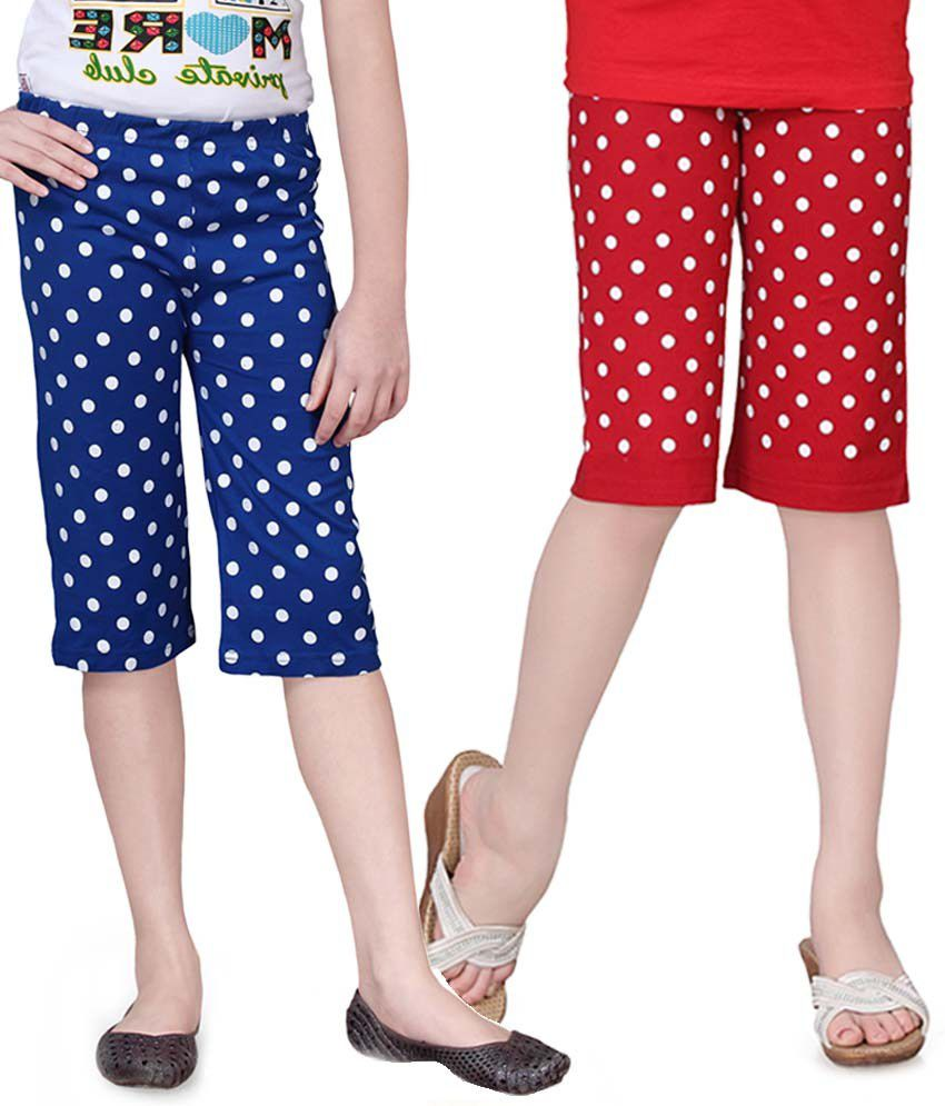 Sinimini Red And Blue Capris - Pack Of 2