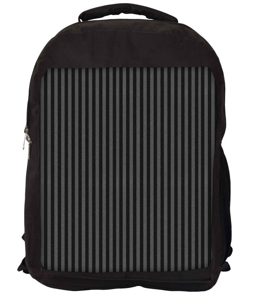 Snoogg Black and Grey Nylon Laptop Backpack