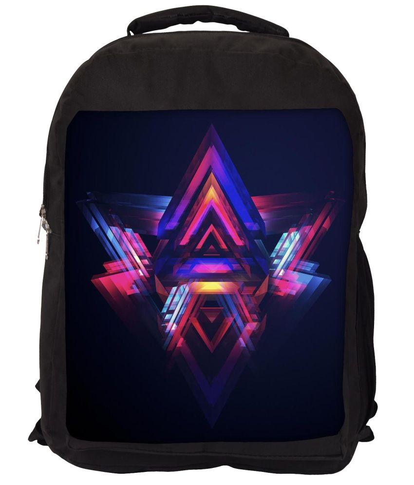 Snoogg Blue and Pink Nylon Laptop Backpack