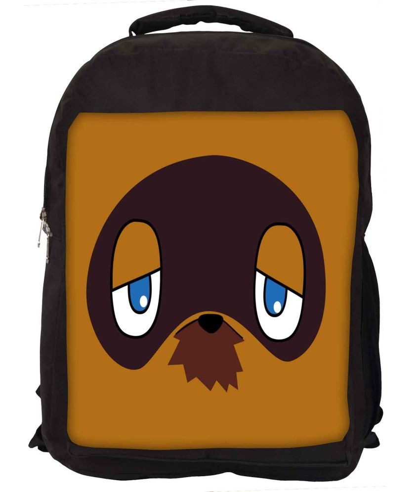 Snoogg Brown and Blue Nylon Laptop Backpack