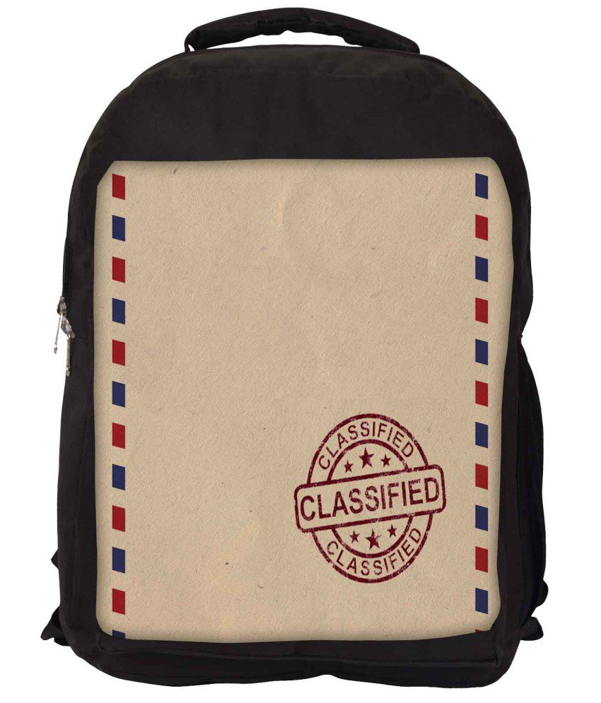 Snoogg Brown and Red Nylon Laptop Backpack