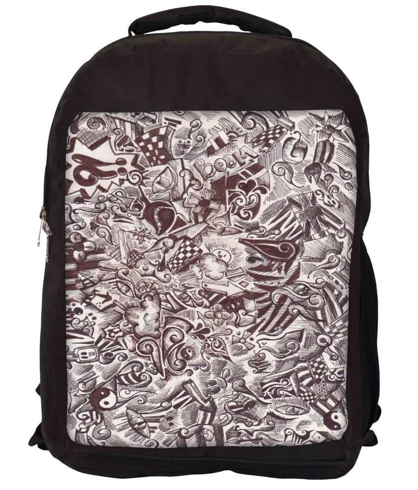 Snoogg Brown and White Nylon Laptop Backpack