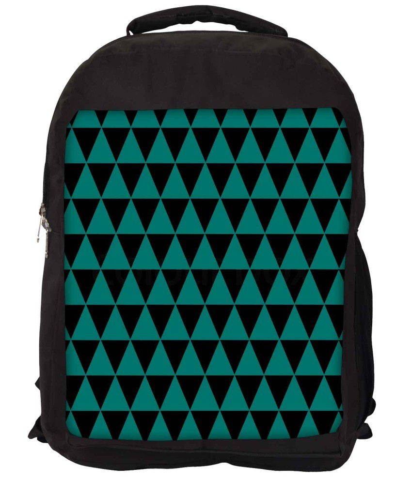 Snoogg Green and Black Nylon Laptop Backpack