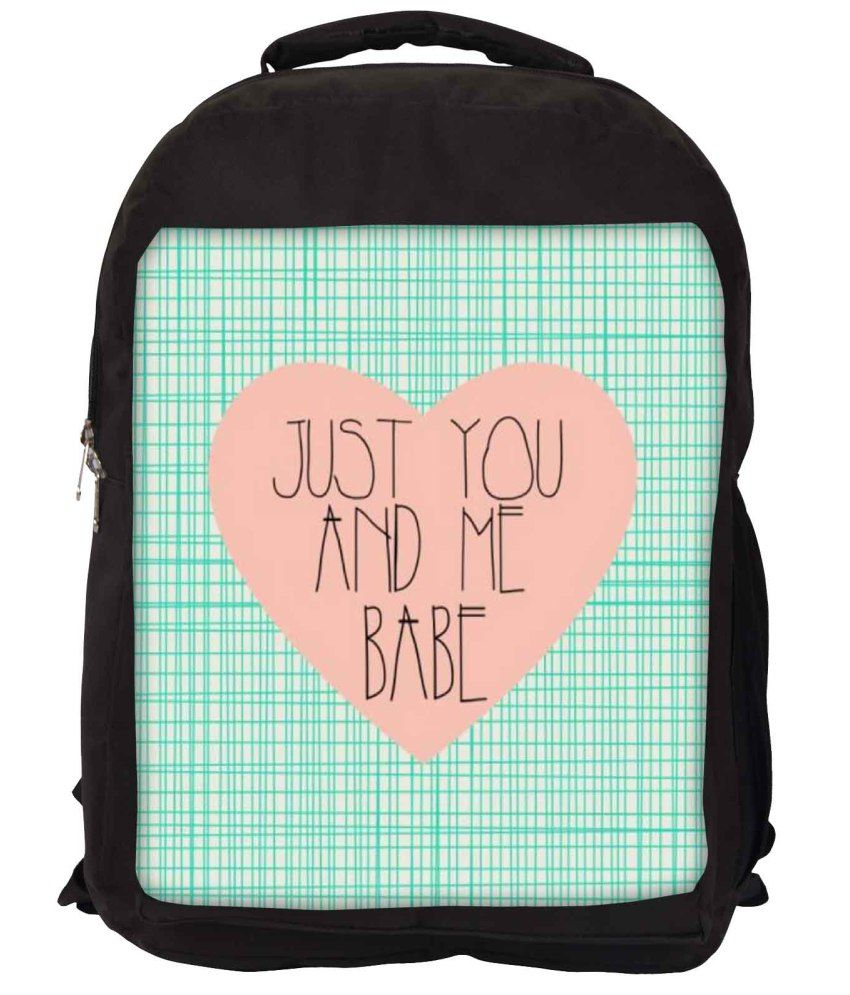 Snoogg Green and Pink Nylon Laptop Backpack