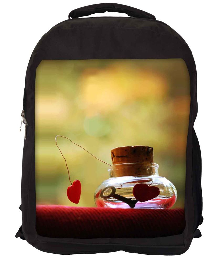 Snoogg Green and Red Nylon Laptop Backpack