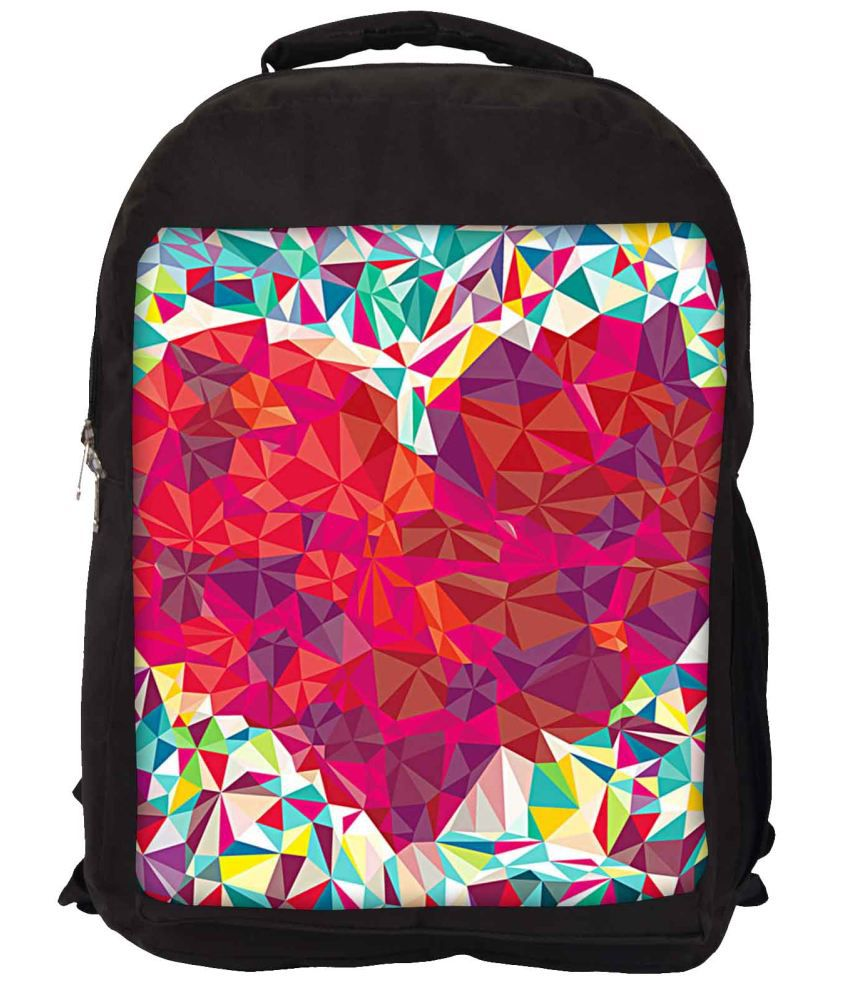 Snoogg Pink and Red Nylon Laptop Backpack