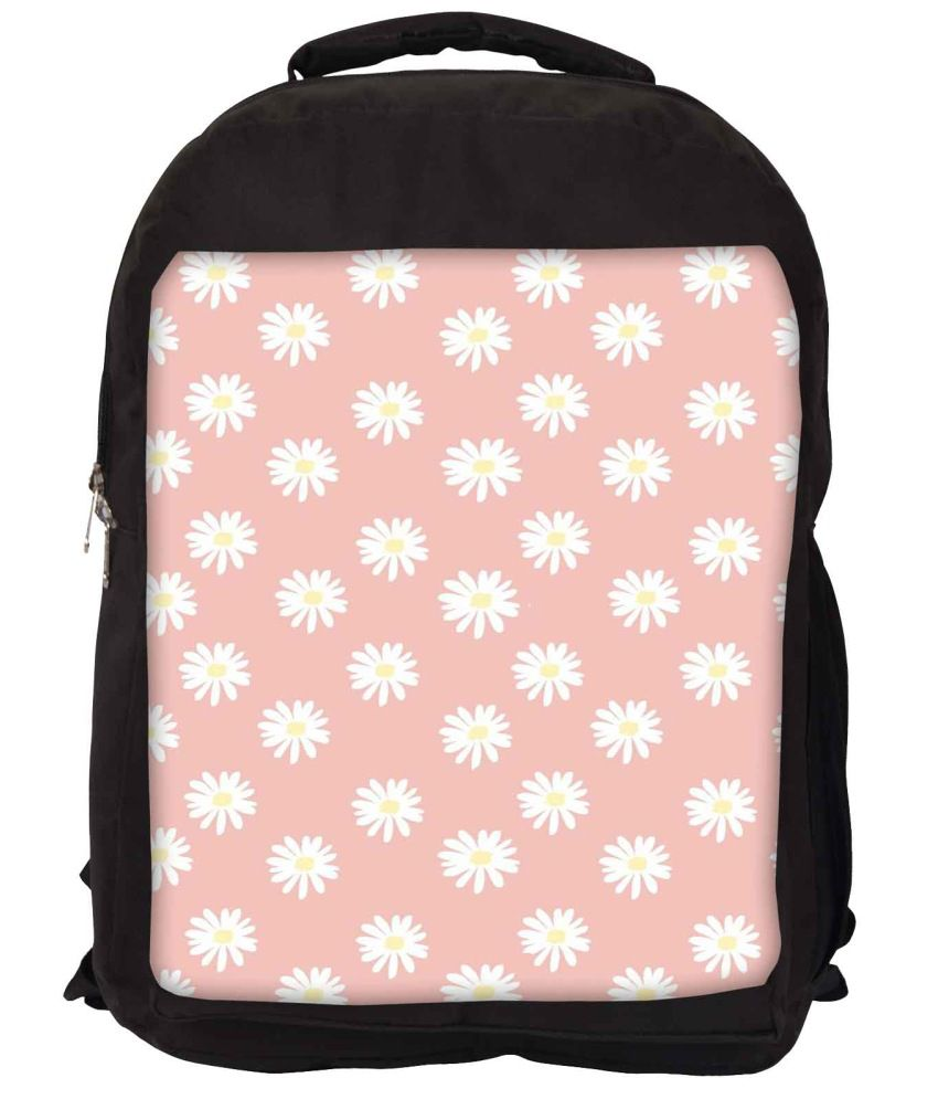 Snoogg Pink and White Nylon Laptop Backpack