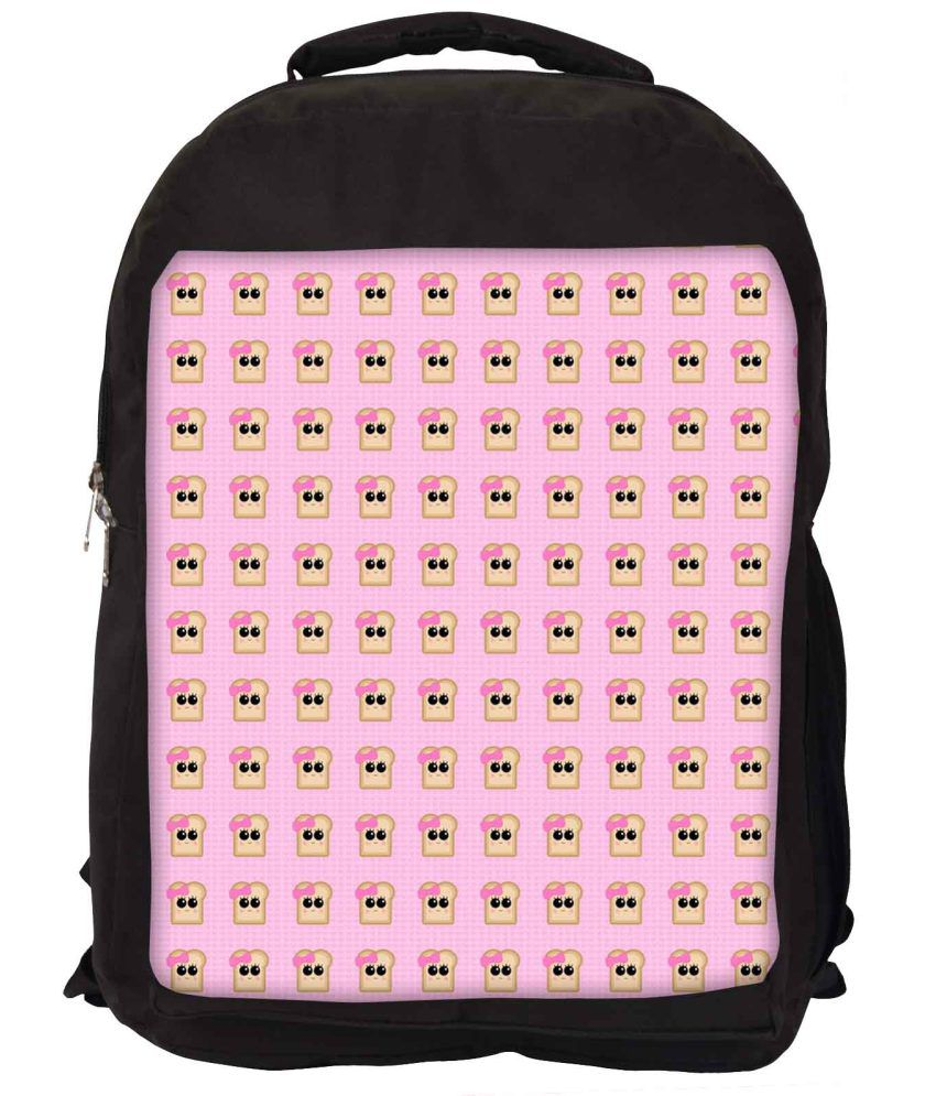 Snoogg Pink and Yellow Nylon Laptop Backpack