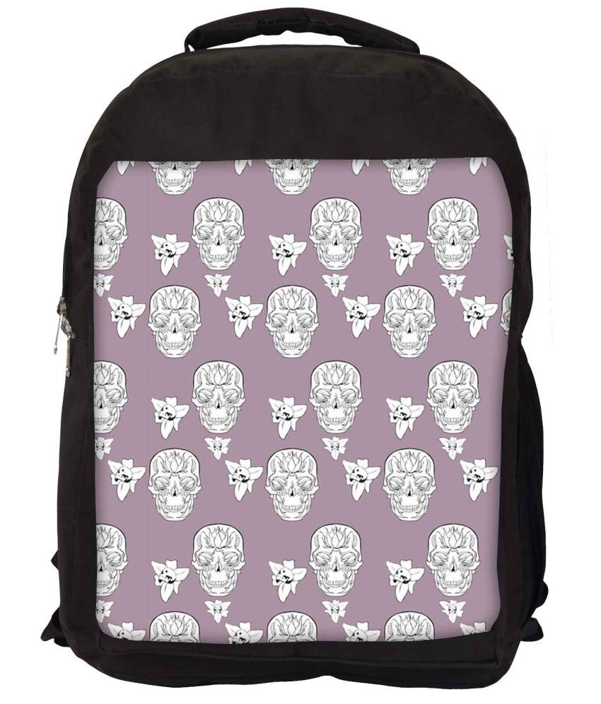 Snoogg Purple and White Nylon Laptop Backpack