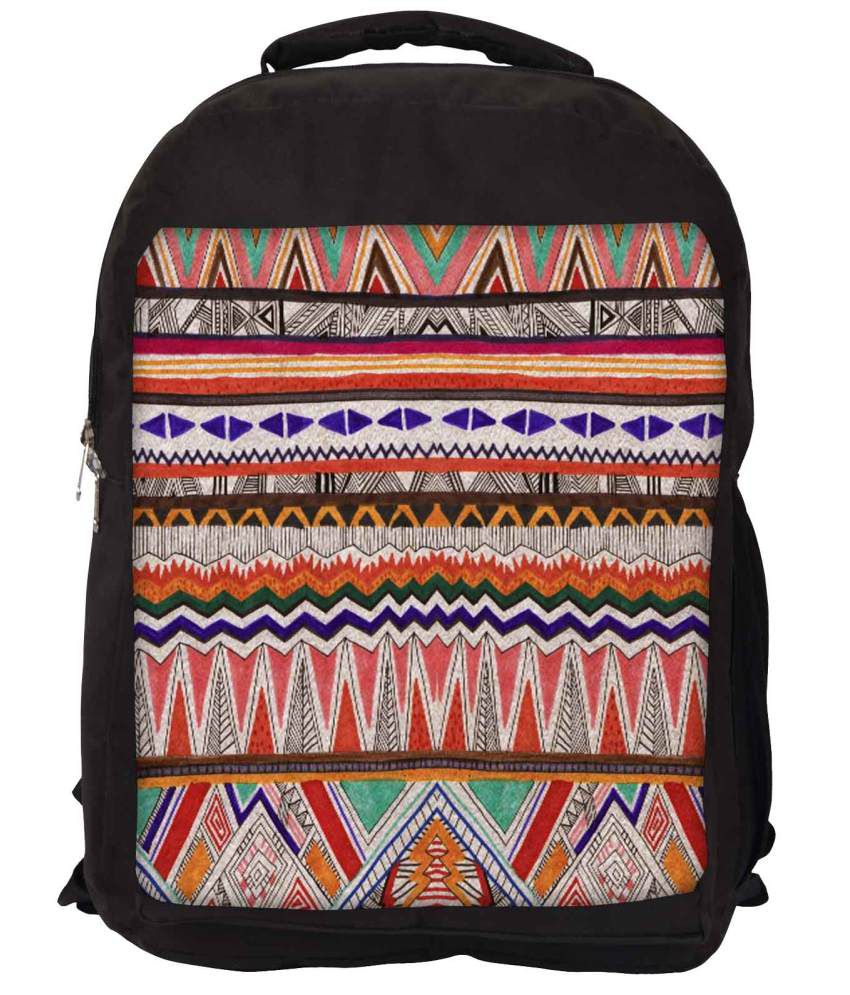 Snoogg Red and Green Nylon Laptop Backpack