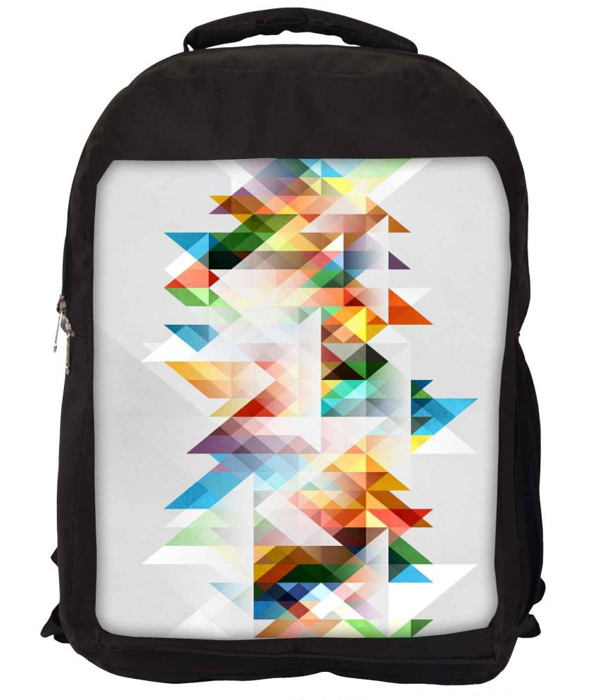Snoogg White and Yellow Nylon Laptop Backpack