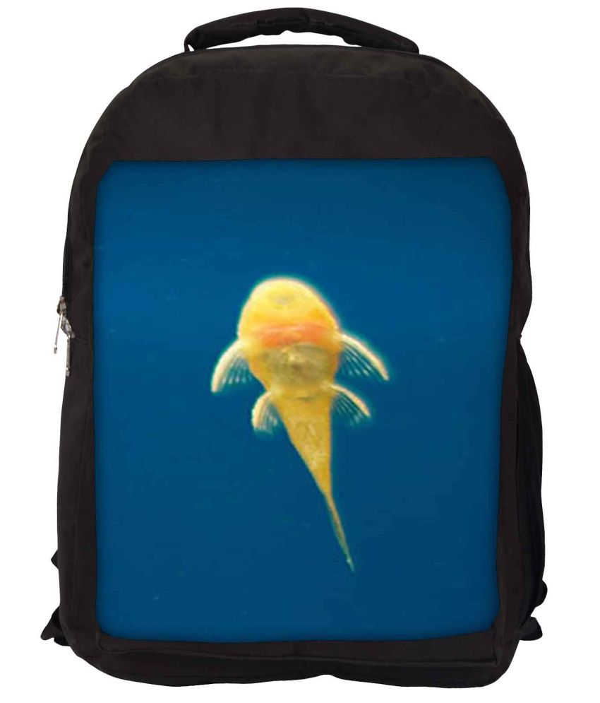 Snoogg Yellow and Blue Nylon Laptop Backpack