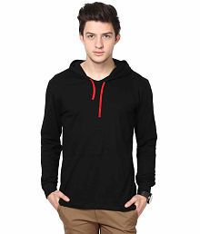 INKOVY Black Cotton Hooded T-shirt for sale  Delivered anywhere in India