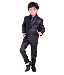 Kids Ethnic Dresses Baby Clothing Boys Stylish Party Shirt Pant Coat With Tie Black