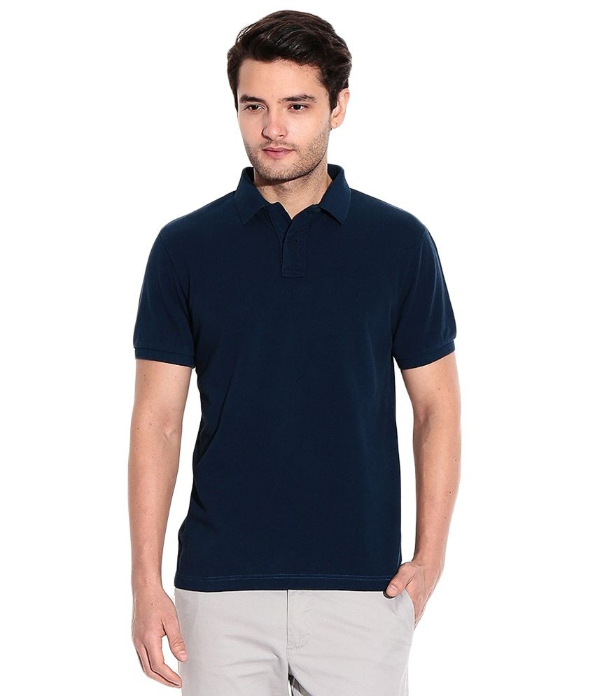 High Street Fashion Navy Cotton Blend Polo T-shirt - Pack Of 2