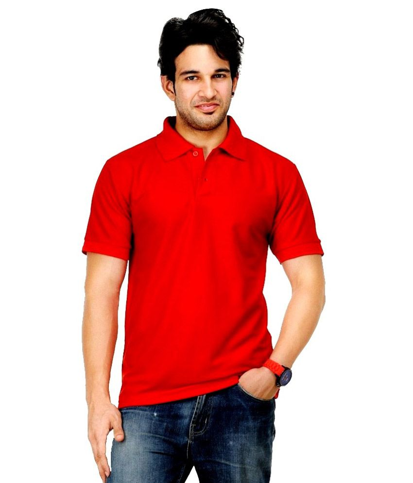 High Street Fashion Red Cotton Blend Polo T-shirt - Pack Of 2