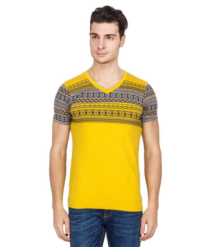 Hilite Yellow & Grey Cotton T-shirt