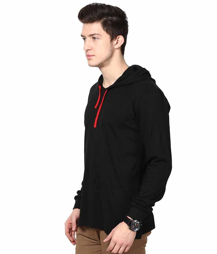 Black t shirt snapdeal -  Inkovy Black Cotton Hooded T Shirt