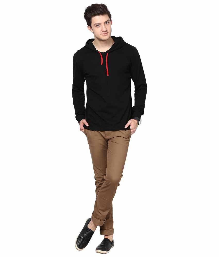 Black t shirt for man -  Inkovy Black Cotton Hooded T Shirt