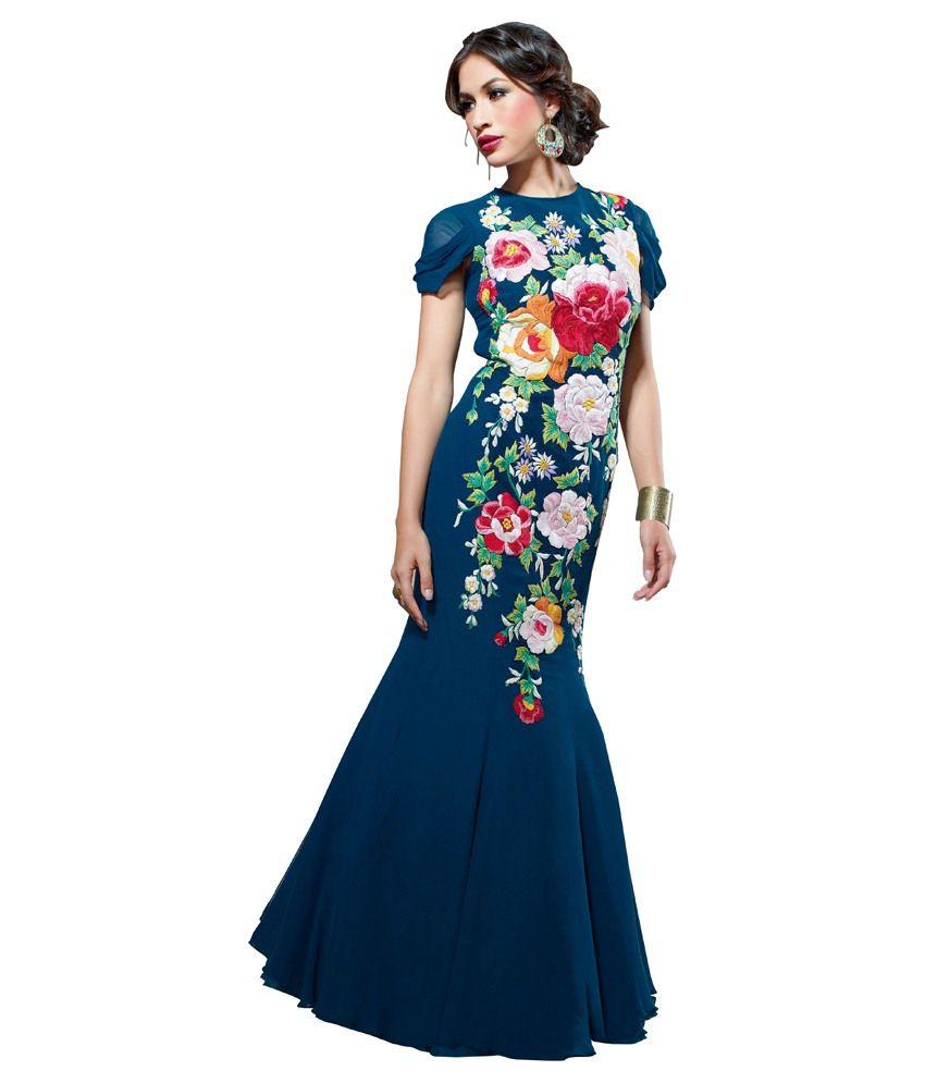 Indian Rag Blue Georgette Gowns - Buy Indian Rag Blue Georgette ...