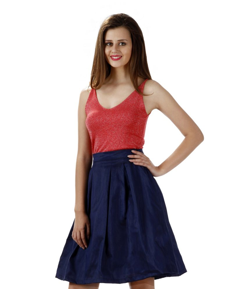 Buy Miss Chase Navy Midi Skater Skirts For Women Party Wear Online ...