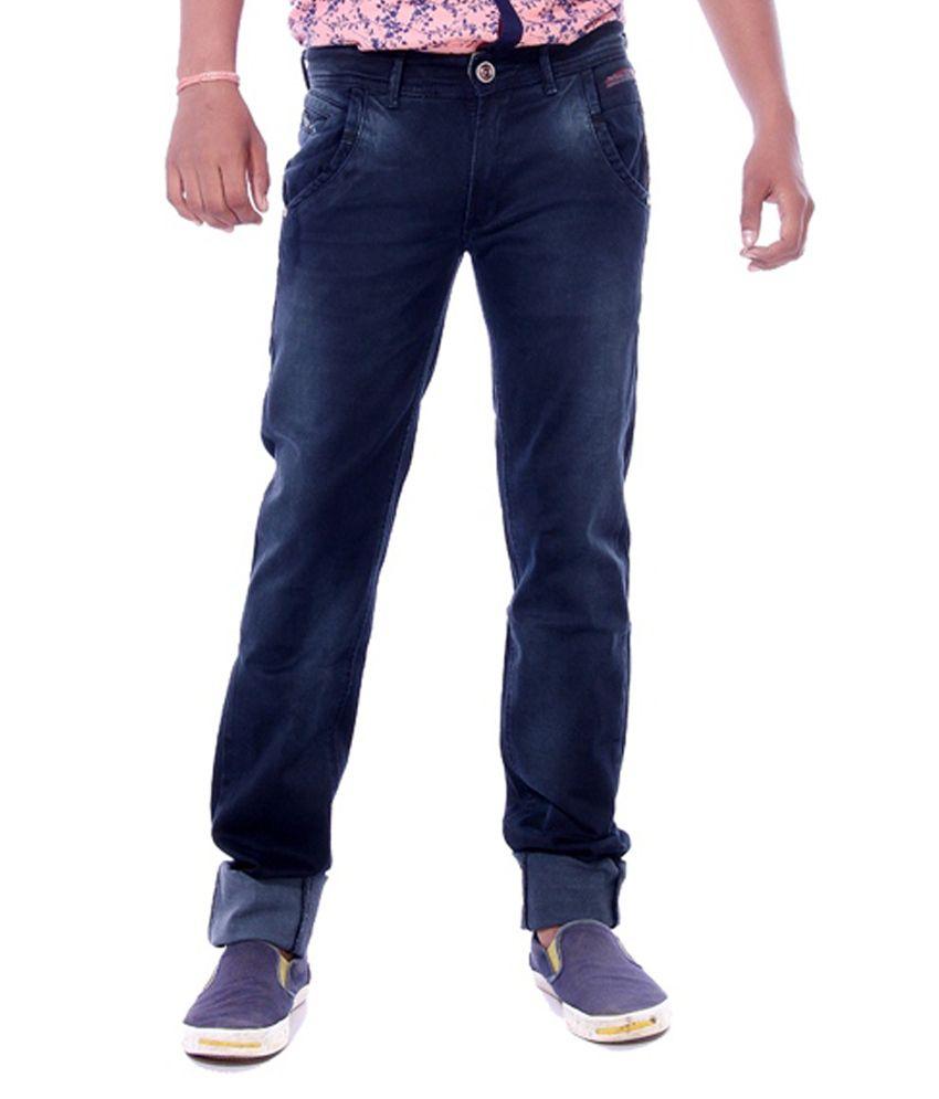 Voizer Blue 100 Percent Cotton Slim Fit Jeans
