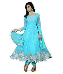 K.C. Blue Georgette Semi Stitched Suit