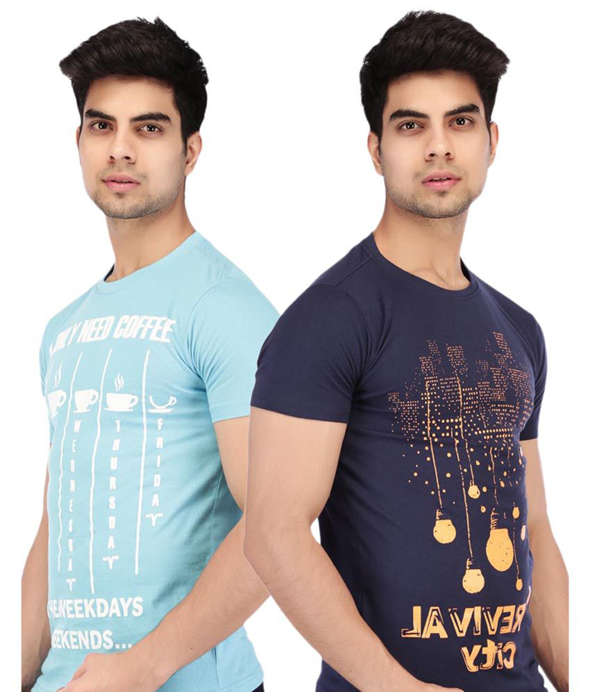 Acropolis by Shoppers Stop Blue Printed Round Neck T Shirt