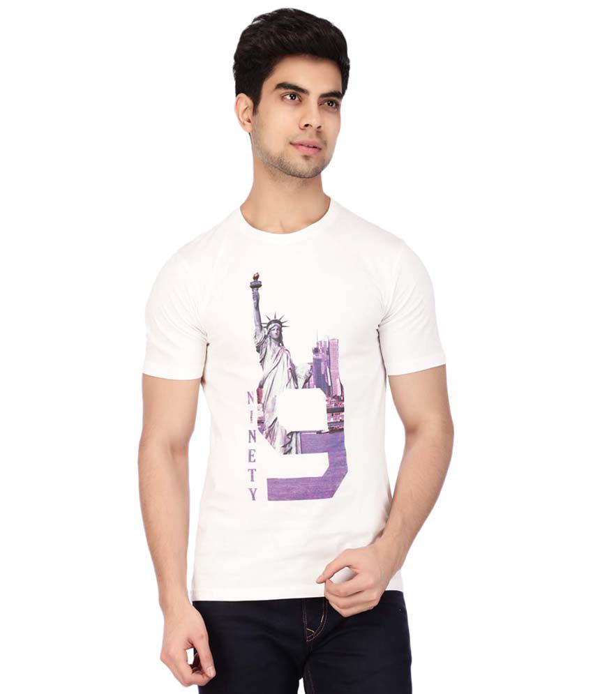 Acropolis by Shoppers Stop White Printed Round Neck T Shirt