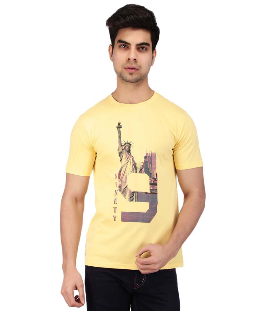 Acropolis by Shoppers Stop Yellow Printed Round Neck T Shirt