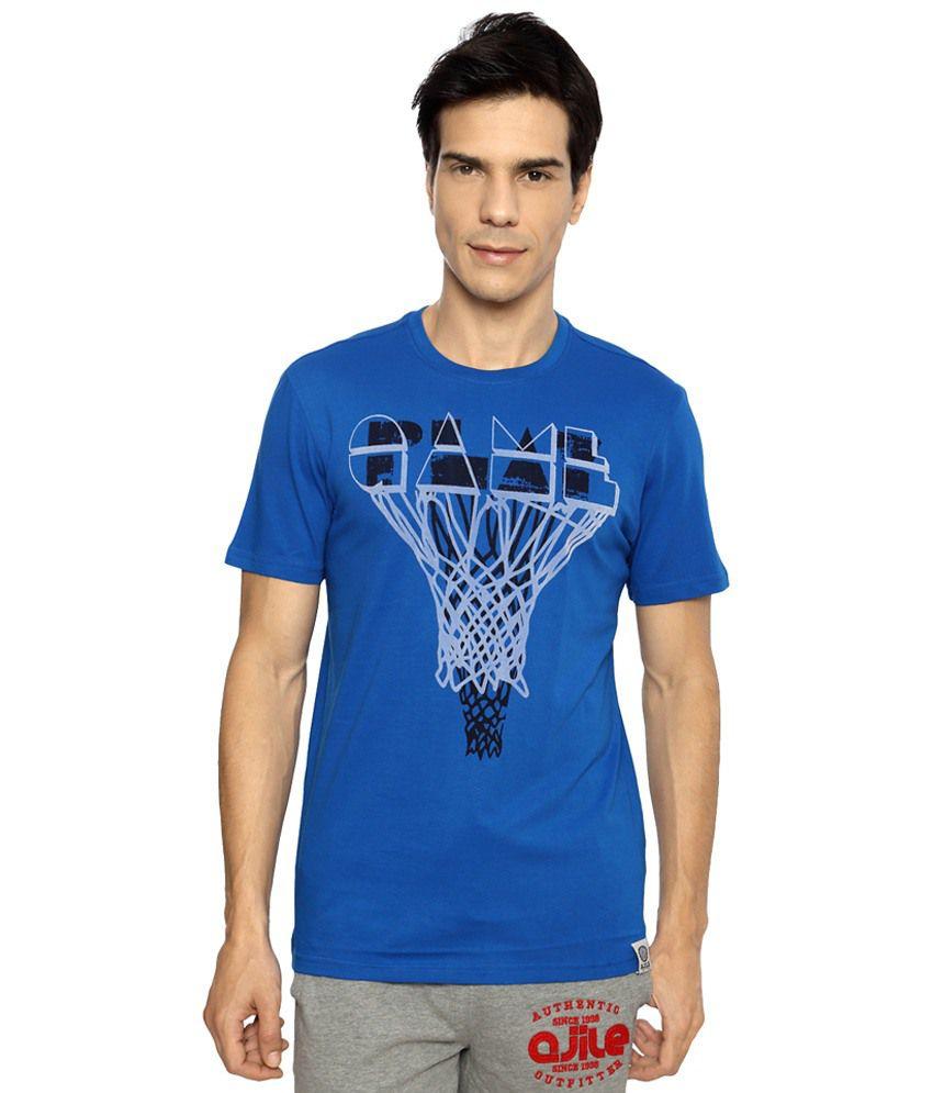 Ajile by Pantaloons Blue Printed Activewear T Shirt