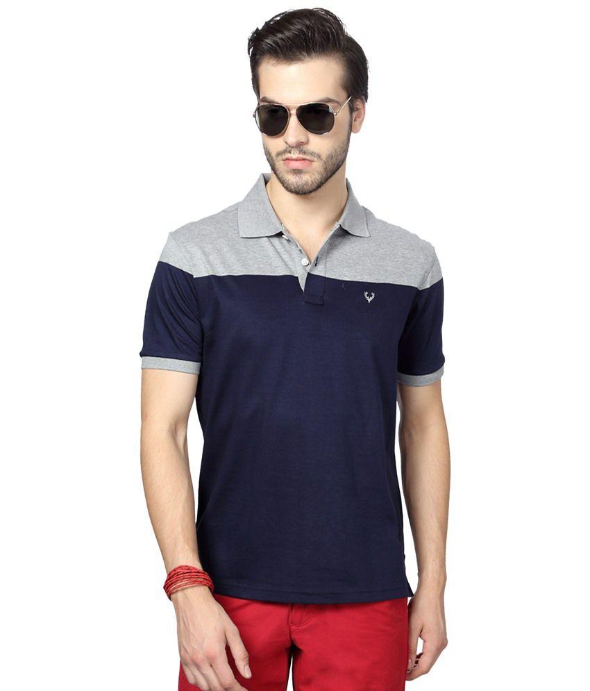 Allen Solly Navy Blue & Gray Casual Polo T Shirt
