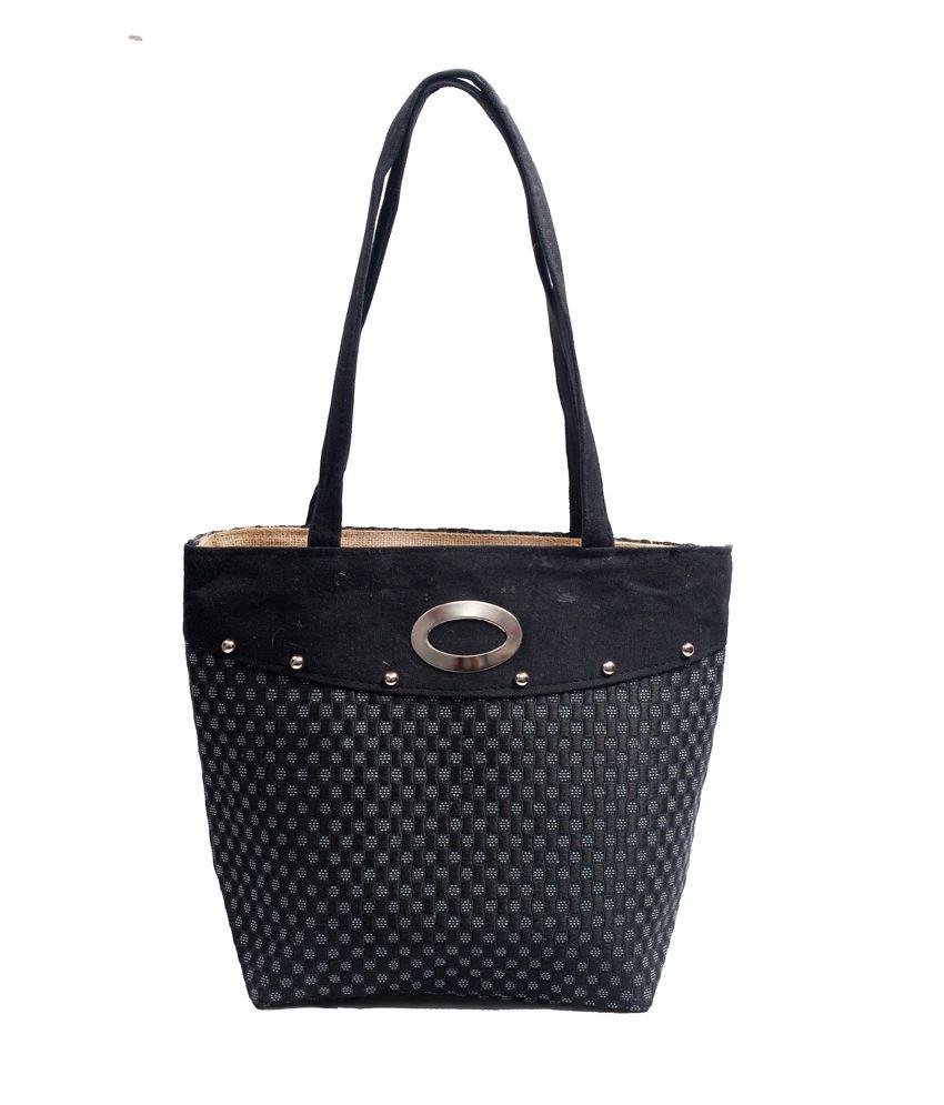 Flier Black Jute Shoulder Bag